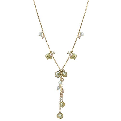 Element Jewelry Pearl Necklace - 14k Gold Neckalce with Pink and Dyed Green Cultured Freshwater Pearls- 17 IN