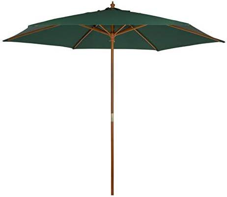 AKTIVE Garden 53865 Parasol hexagonal, diámetro 300 cm, verde mástil madera: Amazon.es: Jardín