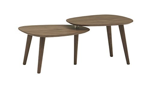 Rivet Allyson Mid-Century Modern Two-Shelf Adjustable Coffee Table, Walnut