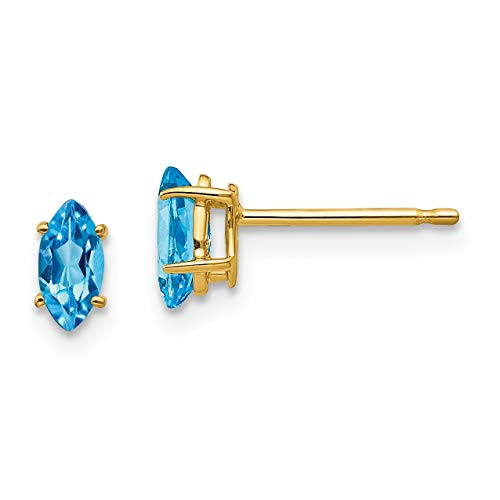 14k 6x3mm Marquise Blue Topaz earring in 14k Yellow Gold