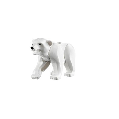 "LEGO Animal Minifigure Husky Artic White Polar Bear Black Eyes - Nose (Aprox. 2"" inch Size)"