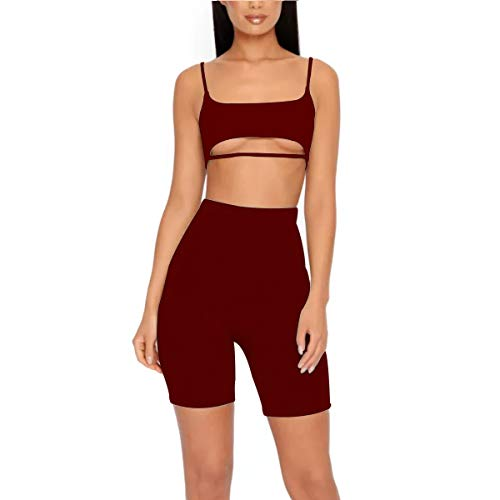 LUFENG Women's Suit Two Pieces Set Sexy Sleeveless Strapless Crop Top and Shorts Set