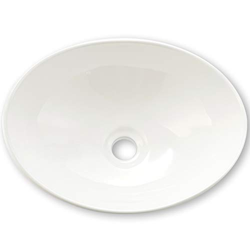 Great Deal! VAPSINT Bathroom Ellipse Art Basin White Porcelain Ceramic Above Counter Vessel Sink