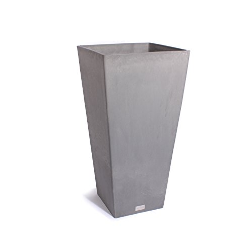 Rim Square Planters - Veradek Midland Tall Square Planter, 28-Inch Height by 13-Inch Width, Charcoal (MV28C)