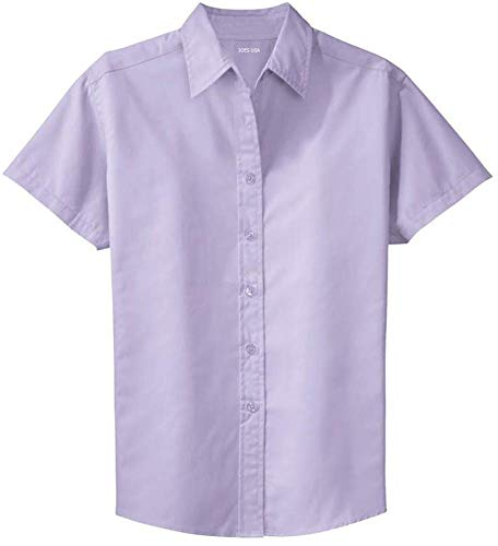 Joe's USA Womens Short Sleeve Wrinkle Resistant Easy Care Shirts-XL Bright Lavender