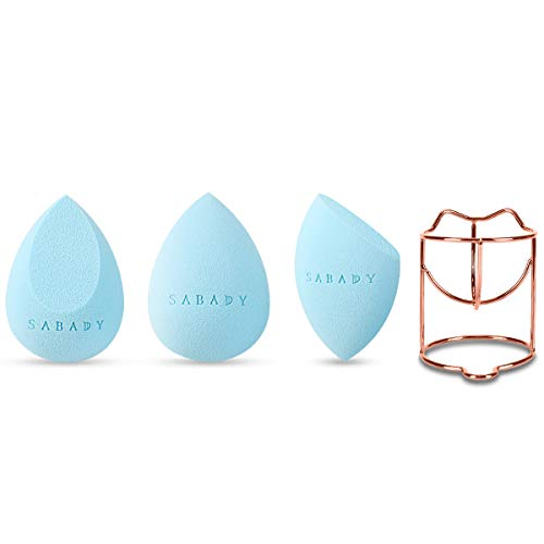 SABADY 3+1 MAKEUP Beauty Sponge Blenders Set With Travel Cases,RoseGold Holder, Multi-shaped,Durable,Soft,Latex-free Blending Sponges Perfect for Foundation,Powder&Cream,and All Skin Types(ROSE) ()