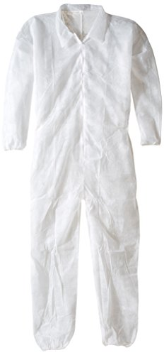 Keystone Polypropylene Coverall, Disposable, Elastic Cuff, White, Xlarge (Case of 25)