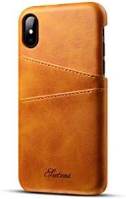 iPhone Xのための財布ケース、4カード/ IDホルダースロット付きのtaStoneプレミアムPUレザー電話ケースカバー5.8インチのiPhone X、iPhone XS、ライトブラウンのための軽量クラシックスタイルスリム保護スクリーンケース