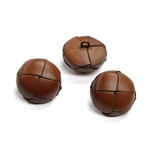 - Set of 3 Thick Hickory Brown Woven Leather Shank Buttons, 44 Line, Made in Italy