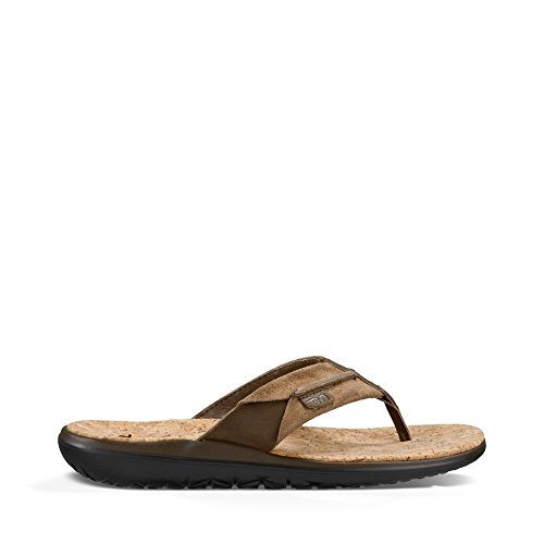 Teva Flip Flops Leather (Teva Men's Terra-Float Lux Leather Flip Flop, Dark Earth, 10 M US)