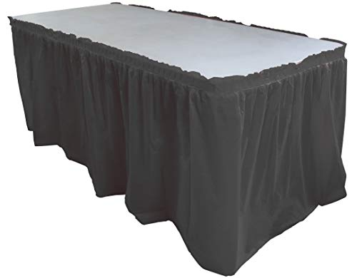 Exquisite Solid Color 14 Ft Plastic Tablecloth Skirt, Disposable Plastic Tableskirts - Black - 6 -