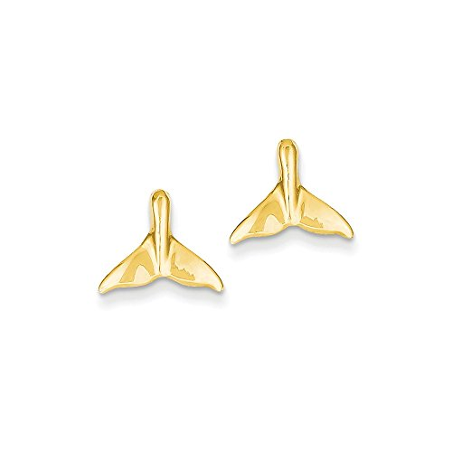 14k Yellow Gold Whale Tail Post Earrings 10x12 (14k Whale)