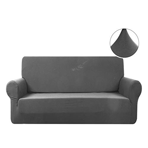 (WOMACO Stretch Loveseat Cover 2 Seater Elastic Couch Slipcovers 2 Seats Sofa Protector for Dogs Cats (2 Seater (57-72''), Gray))