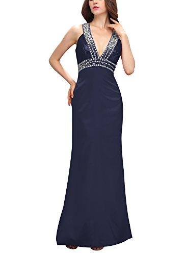Bbonlinedress Vestido De Gala Largo De Satén Con Lentejuelas Para Fiesta Azul Oscuro