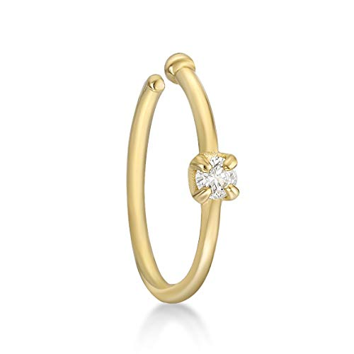 Lavari - 14K Yellow Gold 1.7mm .02 Carat Genuine Diamond Open Hoop Nose Ring 20 Gauge