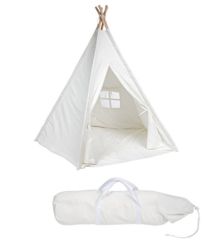6-Large-Canvas-Teepee-With-Carry-Case-Customizable-Canvas-Fabric-By-Trademark-Innovations-White
