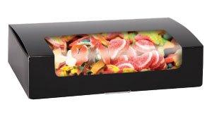 1/2 lb. Brown Auto Bottom Candy Box w/Window - Case of 250