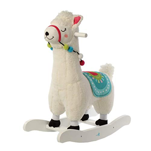 (Baby Rocking Horse, White Alpaca Baby Rocking Horse, Plush Rocker Toy Wooden Riding Horse for 1-3 Years Boy&Girl, Toddler Outdoor&Indooor Toy Rocker, Plush Animal Rocker Chair, Infant Gift Alpaca)