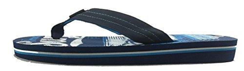 0161 Herren Gummi Sandale Slipper komfortable Dusche Strand Schuh Slip auf Flip Flop Blau