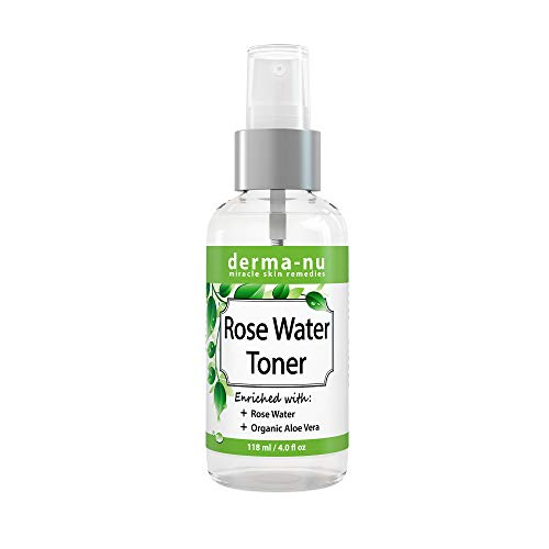 Rose Water Toner For Face - Natural Anti-Aging Facial Toner Spray For Women Enriched with Organic Aloe Vera - Organic Hydrating Pore Refining Toner Mist for Sensitive or Oily Skin ()