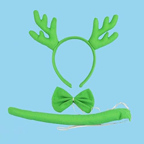 Christmas Horn Reindeer Antlers Headband Bow Tie Tail