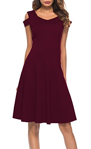 62274274c4 Womens Cold Shoulder Short Sleeve Dress V Neck Off The Shoulder Cocktail  Party A-line
