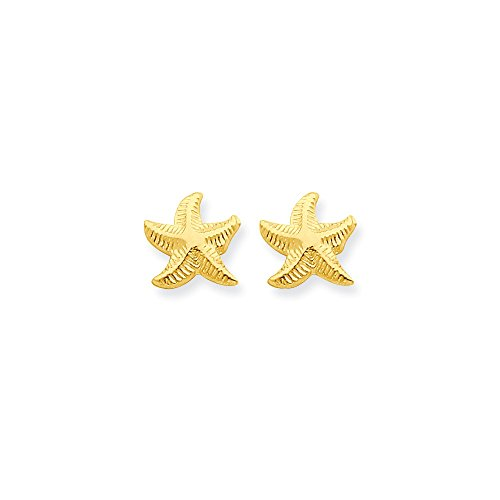 14k Yellow Gold Childs Starfish Post Earrings w/ Gift Box (10MM Long x 8MM (14k Gold Starfish Earrings)