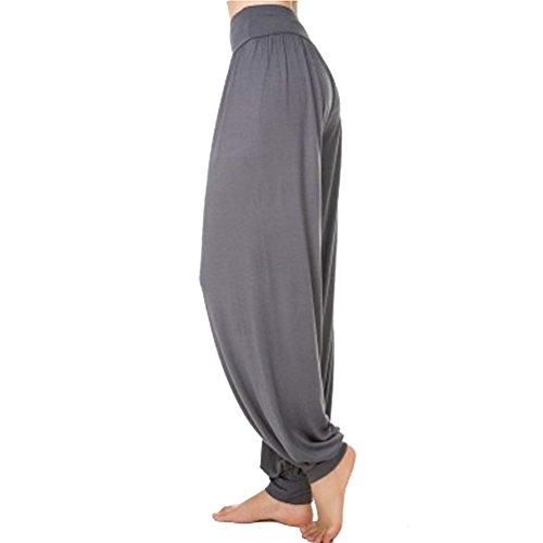Vita Eleganti Tempo Dunkel Libero Di Accogliente Elastica Fashion Donna Estivi Pantaloni Grau Classiche Lanterna Yoga Harem Donne Solidi Danza Colori Pluderhose Sciolto Unique 1PP8UnT