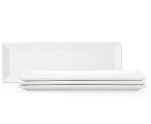 Rectangular Porcelain Serving Platters/Plates - Set of 4 - Size 10.5 X 3.5 Inches - White Timeless Design - Freezer, Microwave and Dishwasher Safe