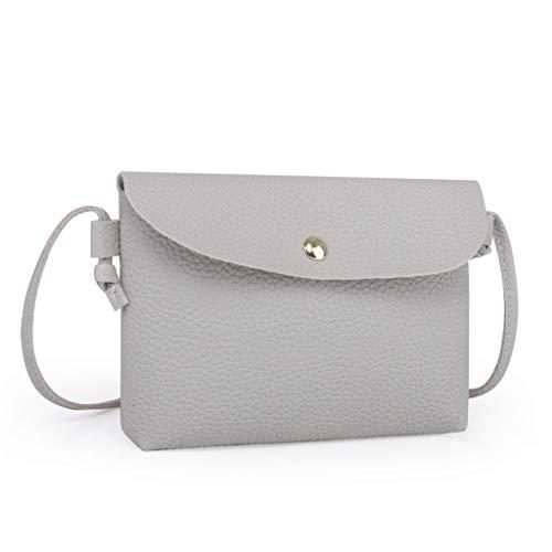 Zainafacai bag, Womens Leather Crossbody Bag Pure Color Shoulder Bags Messenger Bag Coin bag (Gray)
