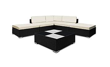 Gartenmöbel Set Glastischplatte Schwarz Mit Weißen Kissen Polly Rattan  Essgruppe Sitzgruppe GartenGarnitur Sofa Couch Couchtisch Modul