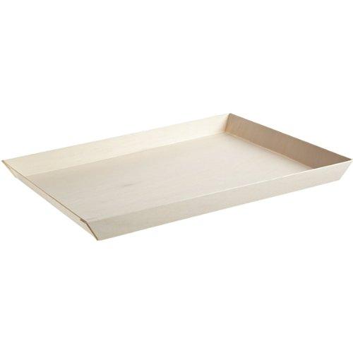 Rectangular Tray Wooden (Samurai Rectangular Wooden Tray (Case of 50), PacknWood - Biodegradable Wood Trays for Serving (10.7