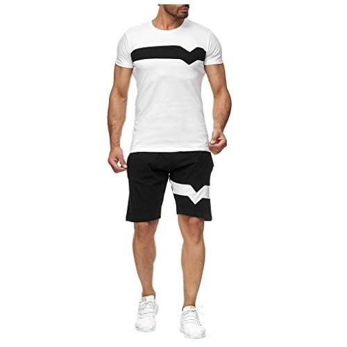 Baiggooswt Mens Summer Leisure Stripe Color Collision Short Sleeve Shorts Sports Thin Leisure Sets White