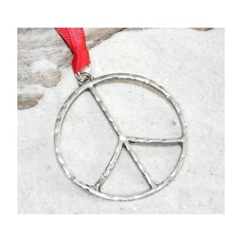 e3bf2826d Amazon.com: Pewter Classic Peace Sign Love Hippie Christmas Ornament ...