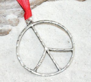Pewter Hammered Peace Sign Large Christmas Ornament Holiday Decoration