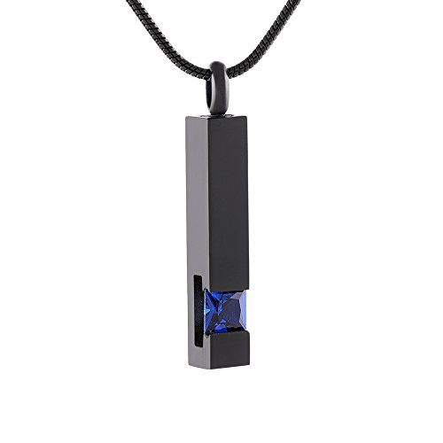 Inlay Multi-Colored Crystal Bar Memorial Urn Necklaces for Cremation Ashes Stainless Steel Keepsake Jewelry (Dark Blue)