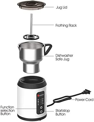 Casara Milk Frother With Superior Induction Technology, Electric Milk Frother and Steamer with Detachable Stainless steel jug for Creating Cappuccino, Latte ,Matcha Automatic Hot Chocolate Maker with All In One Whisk for making Bulletproof Coffee, Hot Chocolate, Irish Coffee, Eggnog, Dishwasher Safe Frother, No Harmful Coating, BPA free