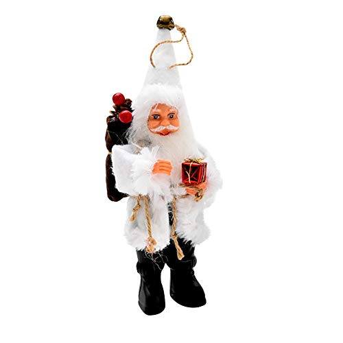 Christmas Doll Santa Clause Doll Tabletop Plush Santa Doll for Kids Creative Plush Toy for Christmas Decor 1PC (White, S:16cm/6.3'')