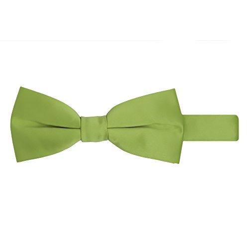 Jacob Alexander Men's Pretied Banded Adjustable Solid Color Bowtie - Apple Green (Apple Green Natural)