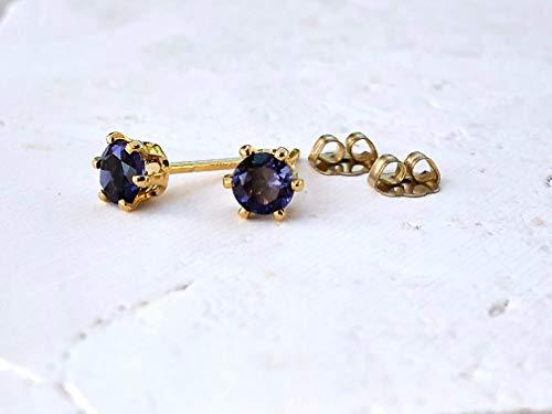 Navy Blue Iolite Gemstone Stud Earrings - 14K GF - Jewelry Gift For - Iolite Gemstone