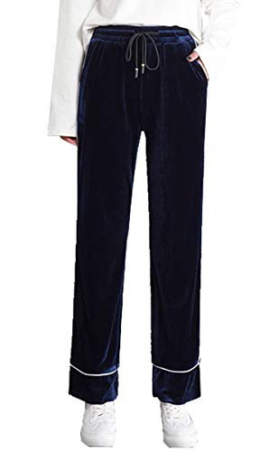 Donna Larghi Velluto Alta Pants Moda Loose Pantaloni Vita BLACKMYTH Casual Sport Blu SxqEWXd