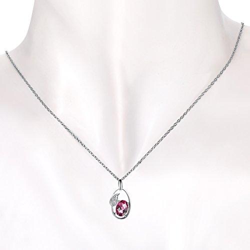Hutang solide Or blanc 18ct véritable Rhodolite Grenat et diamant Forme de feuille Pendentif et collier pour femme Pierre précieuse fine bijoux