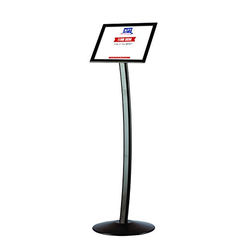 8.5x11 Curved Menu Advertising Sign Stand for Floor with Snap-Open Frame - Black Aluminum