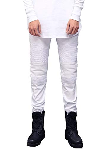 Lavati Uomo A Pieghe Bianca Slim Casual Jeans Vintage Fit Motociclista Pantaloni Strappati Denim In Da Stretch EC1qxP
