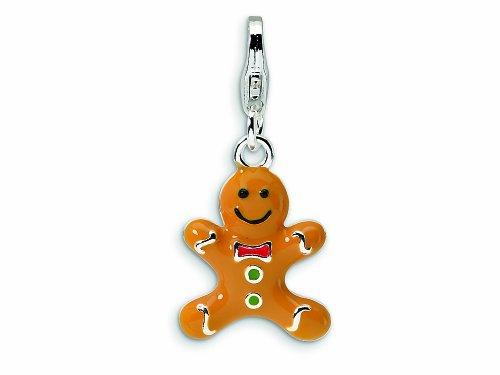 Amore LaVita Sterling Silver 3-D Enameled Gingerbread Cookie Lobster Clasp Bracelet Charm