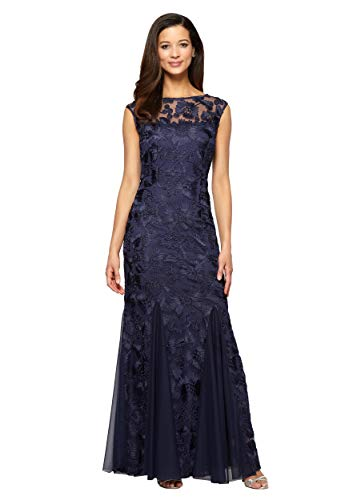 Alex Evenings Women's Embroidered Dress with Illusion Neckline, Navy (Petite), 8P