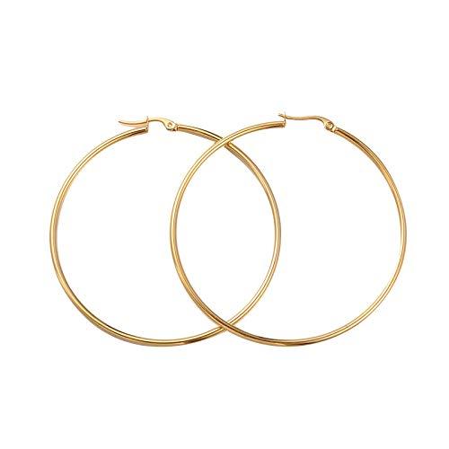 PH PandaHall 6 Pairs Golden Hoop Earrings Piercing Earrings Basic Plated Click Hoop Ring Stainless Steel Rounded Tube for Women Girls Earring Jewelry 65x2mm ()