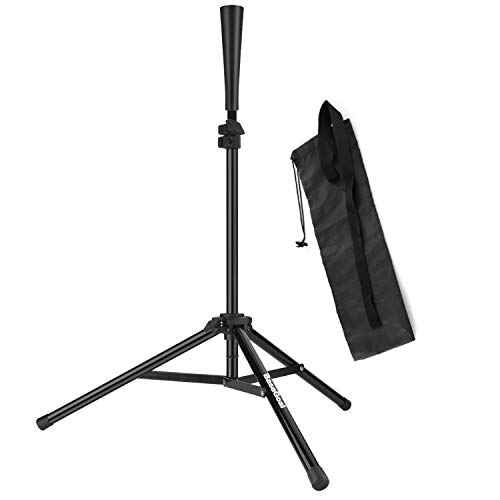BaseGoal Batting Tee Baseball Tee Softball Travel Portable Tee Tripod Stand Rubber Tee for Batting Training Practice with Carrying Bag