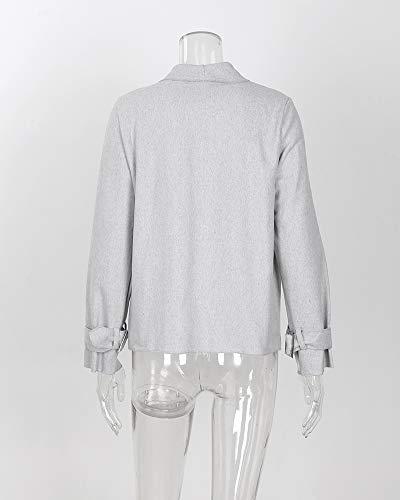 Moda Donna Giacca Cardigan Maniche Cappotto Autunno Inverno Blazer Lunghe Breve Risvolto Unita Grigio Outwear Tinta EE4qC