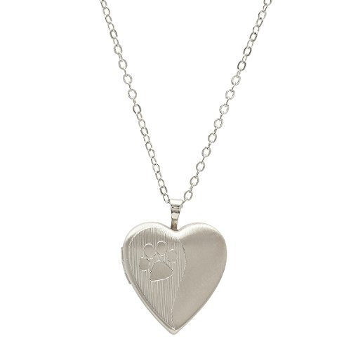 """Pori Jewelers 925 Sterling Silver Dog Paw Heart Locket Necklace in Diamond Cut 18"""" chain- Choose your color (Silver)"""